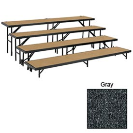 "4 Level Straight Riser with Carpet - 96""L x 18""W - 8""H, 16""H, 24""H & 32""H - Grey"