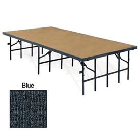 "Portable Stage with Carpet - 96""L x 36""W x 32""H - Blue"
