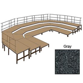 "36""W Carpet Stage Configuration w/9 Stage Units, 12 Pie Units & Guard Rails-Grey"