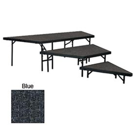 "Stage Pie Set with Carpet for 48""W Stage Units - 8""H, 16""H & 24""H - Blue"