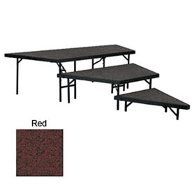 "Stage Pie Set with Carpet for 48""W Stage Units - 8""H, 16""H & 24""H - Red"