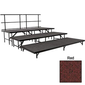 "Stage Set with Carpet - 96""L x 36""W - 8""H, 16""H, 24""H & Two Guard Rails - Red"