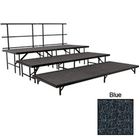 "Stage Set with Carpet - 96""L x 48""W - 8""H, 16""H, 24""H & Two Guard Rails - Blue"
