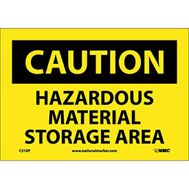 "NMC C310P OSHA Sign, Caution Hazardous Material Storage Area, 7"" X 10"", Yellow/Black"