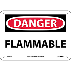 "NMC D126R OSHA Sign, Danger Flammable, 7"" X 10"", White/Red/Black"