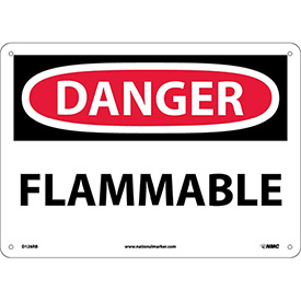 "NMC D126RB OSHA Sign, Danger Flammable, 10"" X 14"", White/Red/Black"