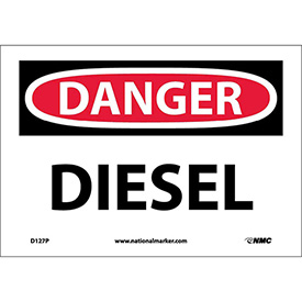 "NMC D127P OSHA Sign, Danger Diesel, 7"" X 10"", White/Red/Black"
