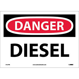 "NMC D127PB OSHA Sign, Danger Diesel, 10"" X 14"", White/Red/Black"