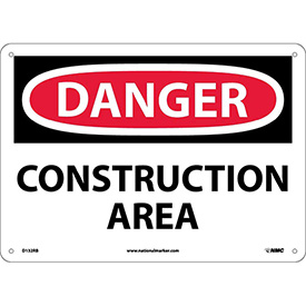 "NMC D132RB OSHA Sign, Danger Construction Area, 10"" X 14"", White/Red/Black"