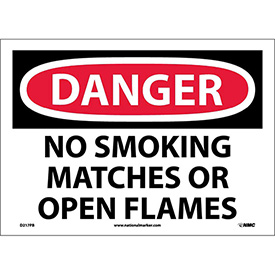 "NMC D217PB OSHA Sign, Danger No Smoking Matches Or Open Flames, 10"" X 14"", White/Red/Black"