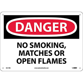 "NMC D217RB OSHA Sign, Danger No Smoking Matches Or Open Flames, 10"" X 14"", White/Red/Black"