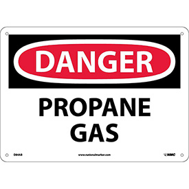 "NMC D84AB OSHA Sign, Danger Propane Gas, 10"" X 14"", White/Red/Black"