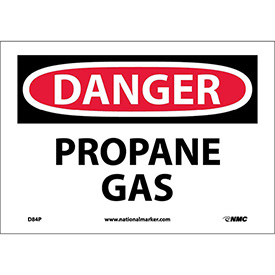 "NMC D84P OSHA Sign, Danger Propane Gas, 7"" X 10"", White/Red/Black"