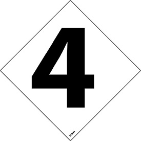 "NMC DCN44 NFPA Label Number, 4, 5"" X 5"", White/Black, 5/Pk - Pkg Qty 5"