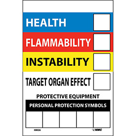 "NMC HM36 RTK Labels-Write On Color Bar / 6"" X 4"" / Red / Yellow / White / Blue / PSV - Pkg Qty 10"