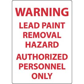 """NMC M204RB Warning Lead Paint Removal Hazard Authorized Personnel Only, 14"""" X 10"""", White/Red"""