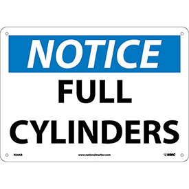 "NMC N26AB OSHA Sign, Notice Full Cylinders, 10"" X 14"", White/Blue/Black"