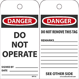 "NMC RPT1A Tags, Danger Do Not Operate, 6"" X 3"", White/Red/Black, 25/Pk"
