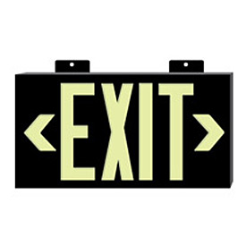 Glo-Brite Exit - Black Single Face w/ Bracket