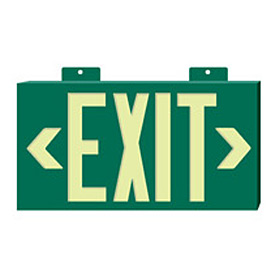 Glo-Brite Exit - Green Single Face w/ Bracket