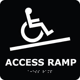 Graphic Braille Sign - Access Ramp - Black