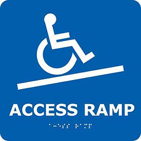 Graphic Braille Sign - Access Ramp - Blue