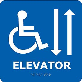 Graphic Braille Sign - Elevator - Blue