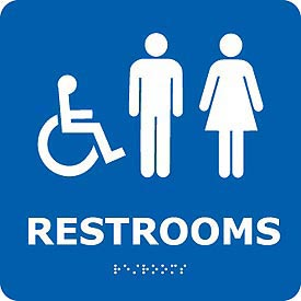 Graphic Braille Sign - Restrooms - Blue