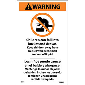 Bilingual Vinyl Infant Drowning Label - Children Can Fall Into The Bucket