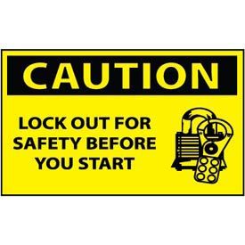 Machine Labels - Caution Lock-Out For Safety Before You Start