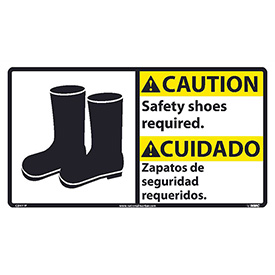 Bilingual Vinyl Sign - Caution Safety Shoes Required