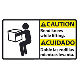 Bilingual Vinyl Sign - Caution Bend Knees While Lifting