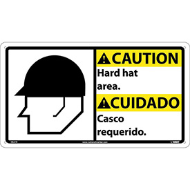 Bilingual Plastic Sign - Caution Hard Hat Area