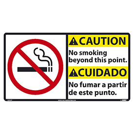 Bilingual Vinyl Sign - Caution No Smoking Beyond This Point