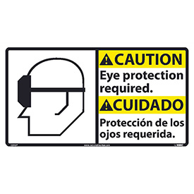 Bilingual Vinyl Sign - Caution Eye Protection Required