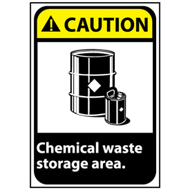 Caution Sign 14x10 Aluminum - Chemical Waste Storage Area