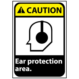 Caution Sign 14x10 Rigid Plastic - Ear Protection Area