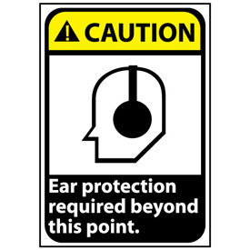 Caution Sign 14x10 Vinyl - Ear Protection Required