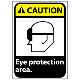 Caution Sign 14x10 Rigid Plastic - Eye Protection Area