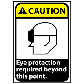 Caution Sign 14x10 Rigid Plastic - Eye Protection Required