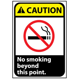 Caution Sign 10x7 Rigid Plastic - No Smoking Beyond This Point