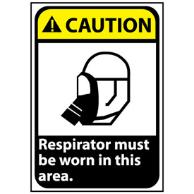 Caution Sign 14x10 Aluminum - Respirator Must Be Worn