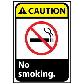Caution Sign 10x7 Rigid Plastic - No Smoking