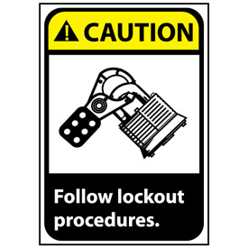 Caution Sign 10x7 Rigid Plastic - Follow Lock Out Procedures
