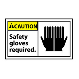 Graphic Machine Labels - Caution Safety Gloves Required