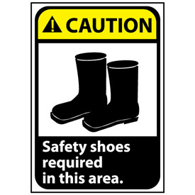 Caution Sign 10x7 Vinyl - Safety Shoes Required