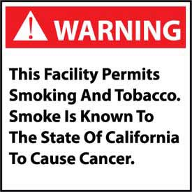 California Proposition 65 Vinyl Sign - Warning This Facility Permits Smoking