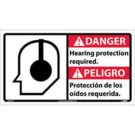 Bilingual Vinyl Sign - Danger Hearing Protection Required