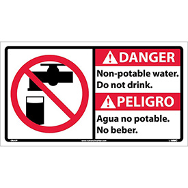Bilingual Vinyl Sign - Danger Non-Potable Water Do Not Drink