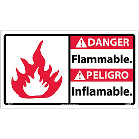 Bilingual Vinyl Sign - Danger Flammable